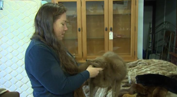 Ze verzamelt oud bont, maar niet om het te dragen... wat ze ermee doet is bewonderenswaardig!