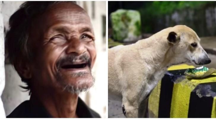 Ecco a voi il senzatetto che si priva del cibo pur di sfamare i suoi cani