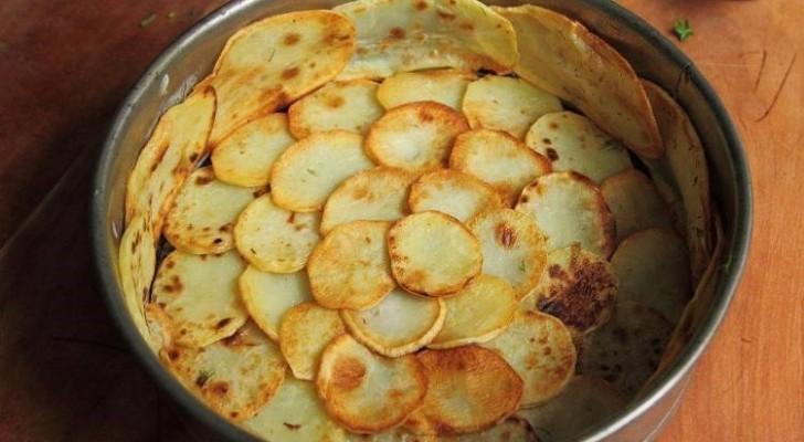 Bekleed een bakvorm met plakjes aardappel en voeg spinazie toe: het eindresultaat is een meesterwerk