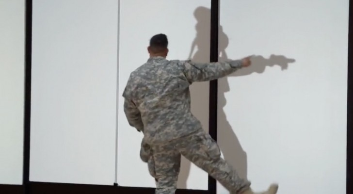 A soldier tries to follow his strange shadow ... But what happens is HILARIOUS!