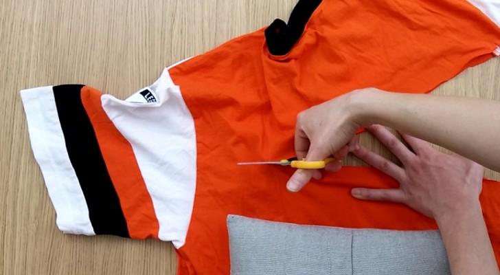 voici comment recycler un vieux t shirt de mani re originale et sans couture. Black Bedroom Furniture Sets. Home Design Ideas
