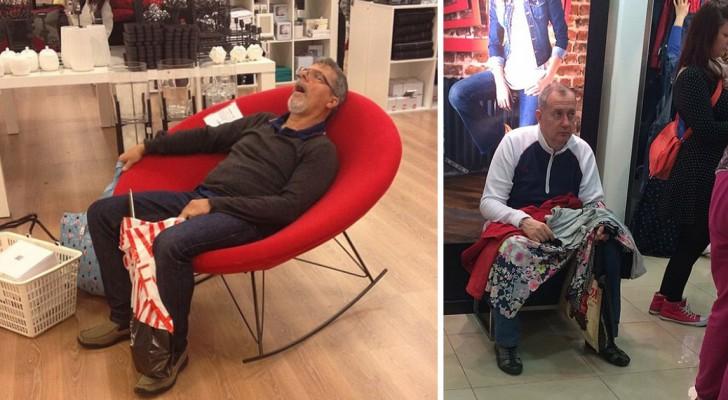 20 immagini di uomini miseramente intrappolati nell'inferno dello shopping