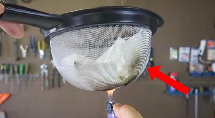 Hij houdt een vuurtje onder zeer brandbaar vloeipapier, maar het papier vat geen vlam: hoe kan dit?