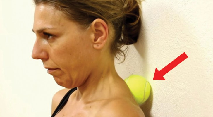 Press a tennis ball against the wall  and six minutes later --  Your neck pain DISAPPEARS!