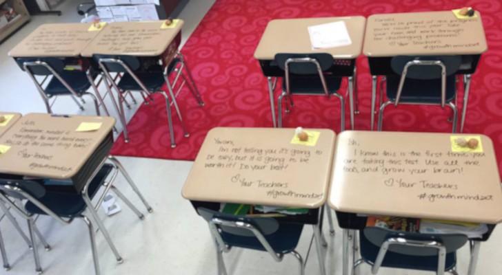 Gli alunni entrano in classe per fare l'esame e su ogni banco trovano messaggi incoraggianti da parte dell'insegnante