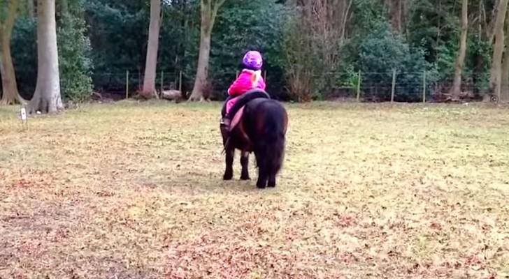 La mamma filma sua figlia di 3 anni sul pony: la loro amicizia è uno spettacolo