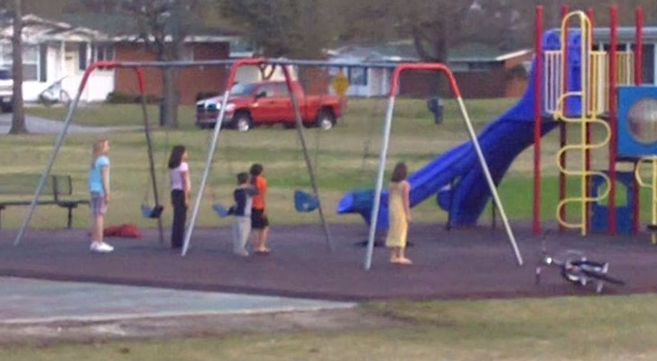 A mother sees her children stand immobile on a playground ---The reason makes her proud!