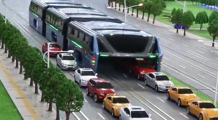 Den här bussen undviker trafiken genom att åka ovanför bilarna: upptäck denna otroliga uppfinning