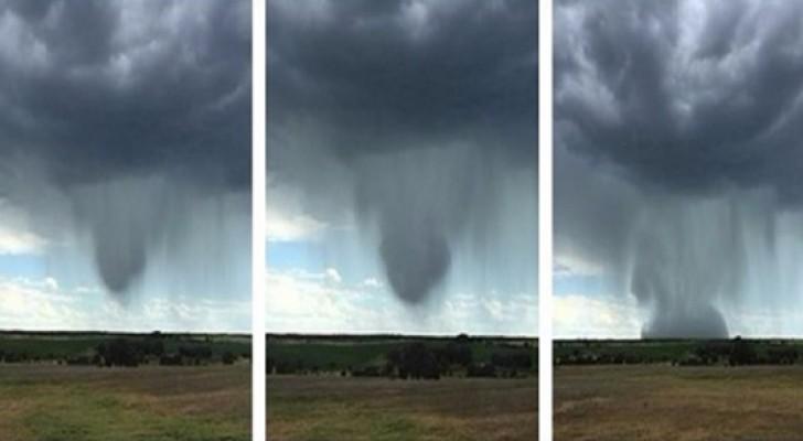 Mentre filma un temporale, un uomo cattura un fenomeno atmosferico impressionante