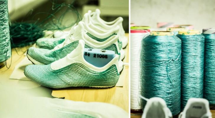 Scarpe prodotte con bottiglie di plastica e reti da pesca illegali: così la moda diventa green