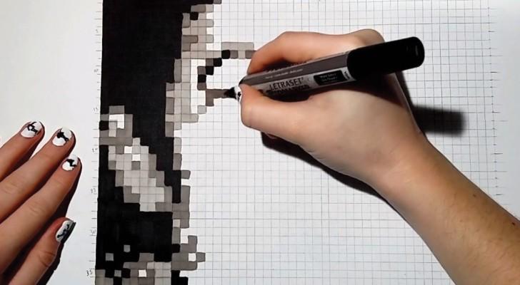 Inizia colorando dei quadratini sul foglio e arriva a realizzare un ritratto sorprendente