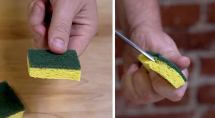 Corta uma esponja e faz um sulco... Veja como lavar qualquer tipo de louça!