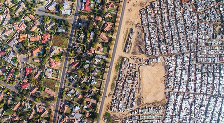 rijk versus arm: een drone legt de schokkende waarheid vast