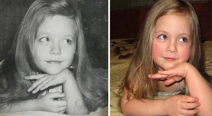 Genitori e figli fotografati alla stessa età: la somiglianza è straordinaria