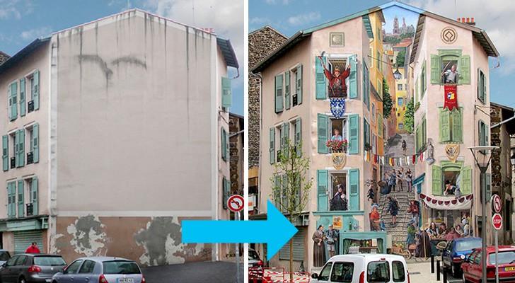 Deze kunstenaar slaagt erin om nieuw leven te geven aan de gevels van anonieme gebouwen met prachtige monumentale fresco's