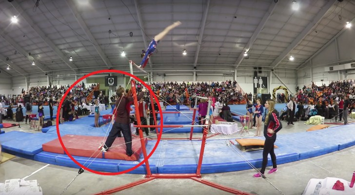 A gymnast suddenly slips --- Her coach saves her life!