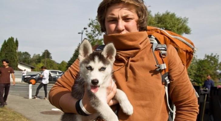 Deve scappare dalla guerra ma non vuole abbandonare il cane: la sua impresa è commovente