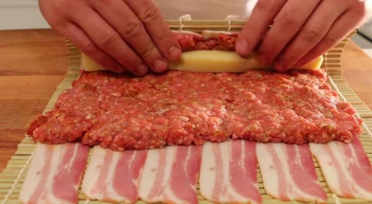 Fleisch und Käse in Speck eingerollt: Ein Spektakel für Augen und Magen!