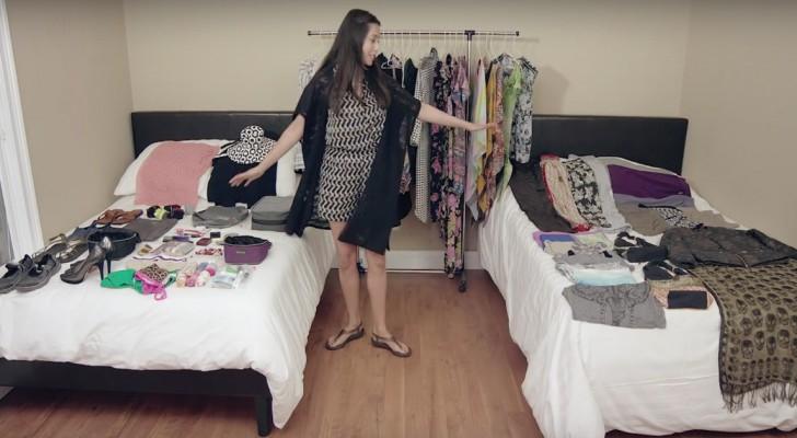 Ze pakt meer dan 100 items in één weekendtas in: hier zie je hoe!