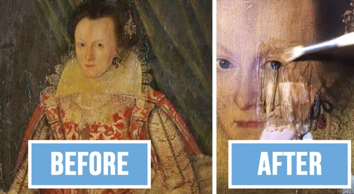 Toglie lo strato di vernice ingiallita da un dipinto di 399 anni: la differenza dei colori è incredibile